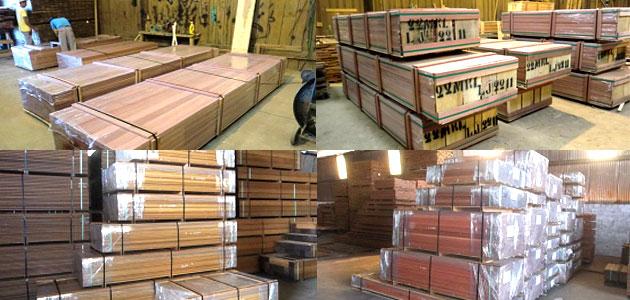 ウッドデッキ材・ウッドフェンス材 ハードウッド(アイアンウッド)材木を傷めることなく日本に送るため、きちんと梱包を行い準備をします~イペ・ウリンの激安代替品、アマゾンジャラとイタウバが安い卸価格格安