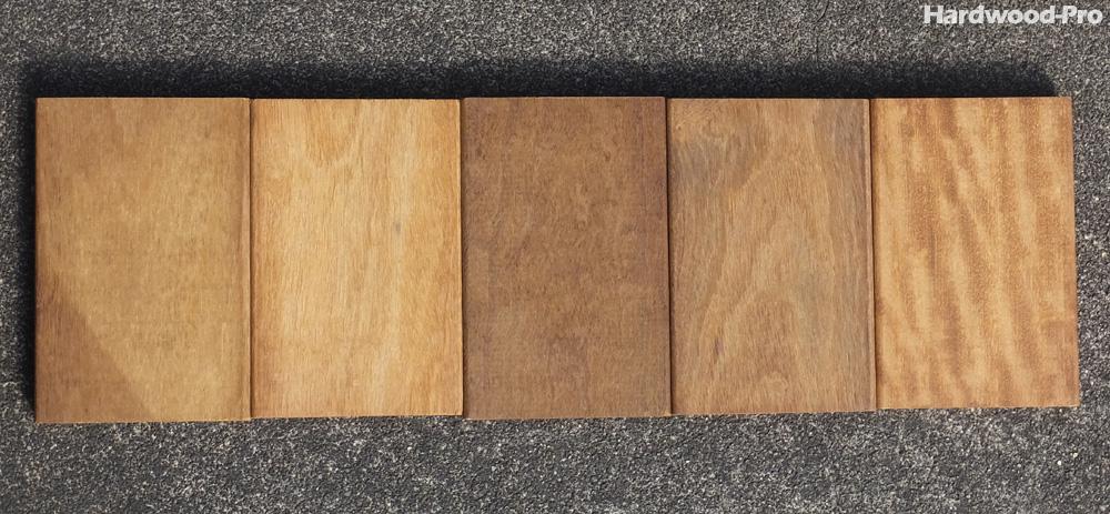 ハードウッドプロのイタウバ材サンプル (秋 午前 撮影)油分が豊富なイタウバは耐久性が高く、触るとしっとりとして気持ちの良い木肌です。
