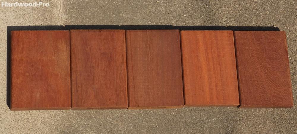 ハードウッドプロのアマゾンジャラ材サンプル(夏 午後 撮影) 比重が高く堅いため、別名「アマゾンのアイアンウッド(鉄の木)」「アマゾンウリン」と呼ばれています。